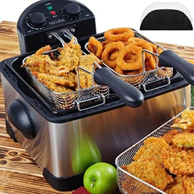 Secura 1700-Watt Stainless-Steel Triple Basket Electric Deep Fryer with Timer Free Extra Odor Filter, 4L/17-Cup