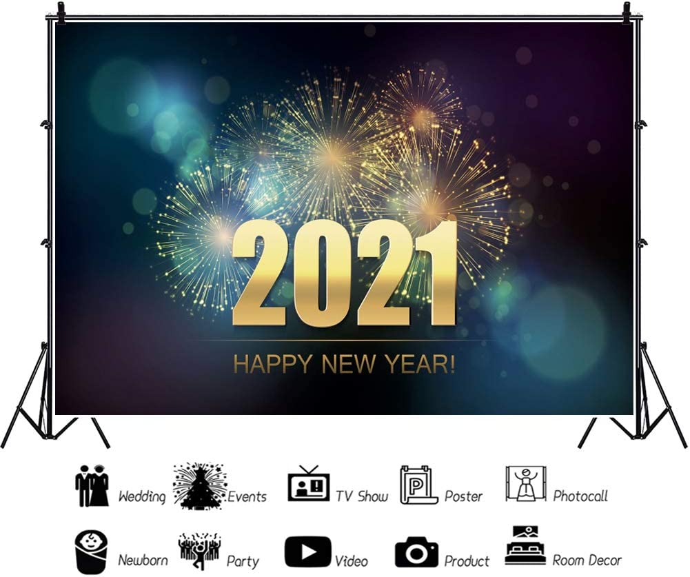 DASHAN 5x3ft Polyester Sparklers Fireworks 2021 Happy New Year Backdrop 2021 New Year Eve Party Photography Background Gold Glitter New Year Winter Party Banner Christmas Festival YouTube Photo Prop