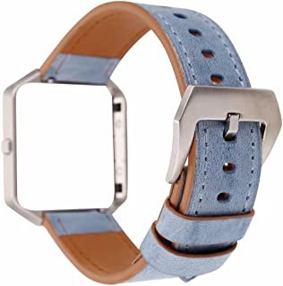 Fitbit Blaze Leather Bands with Metal Frame, Soft Genuine Leather Wristband Fitbit Blaze Replacement Watch Band Fitness Strap for Women Men (Blue)