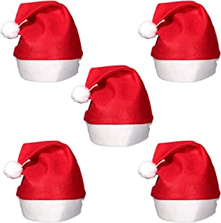 Christmas Santa Claus Hats, Classic Red Cap Adult Kids Xmas Party Plain Design Red & White Christmas Party - Perfect Accessory for Santa Claus Costume Celebrate Xmas with Family & Friends (23cm, 5pcs)