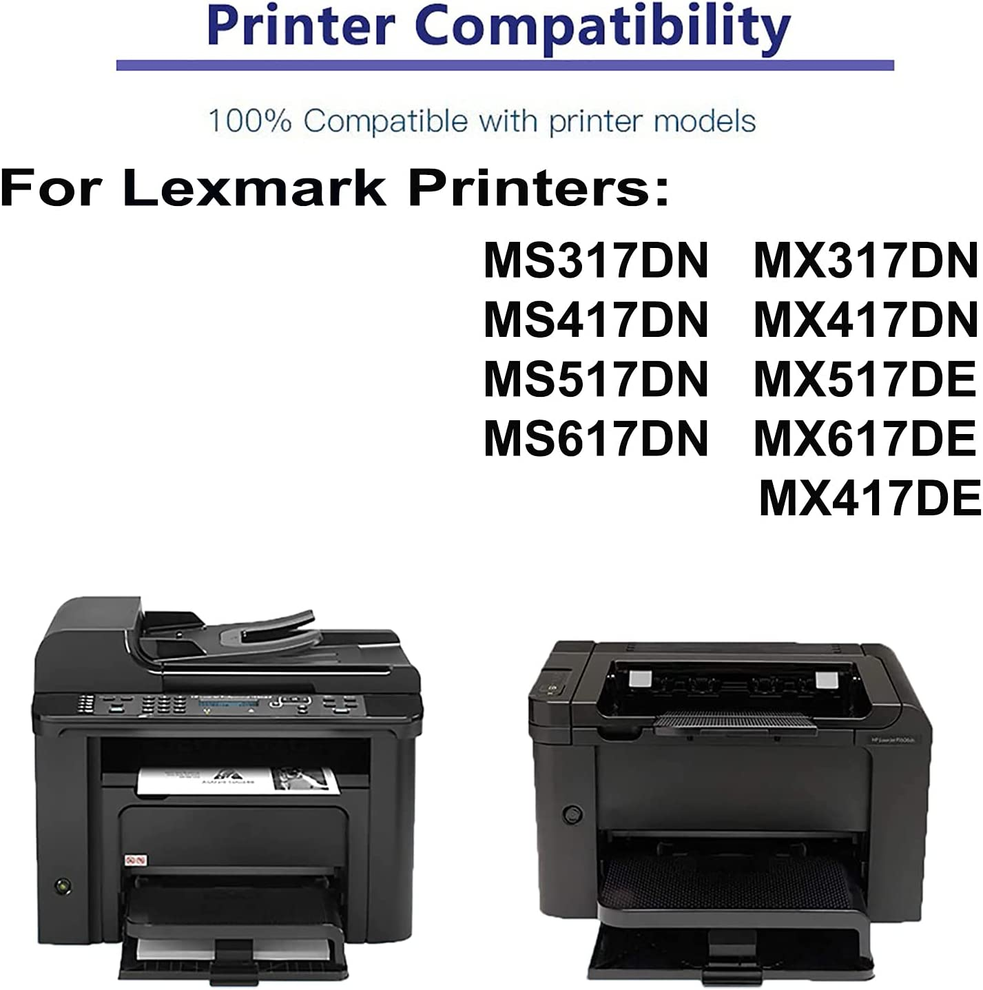 2-Pack Compatible High Capacity MX517DE MX617DE MX417DE Printer Toner Cartridge Replacement for Lexmark 52B2H00 Printer Cartridge (Black)