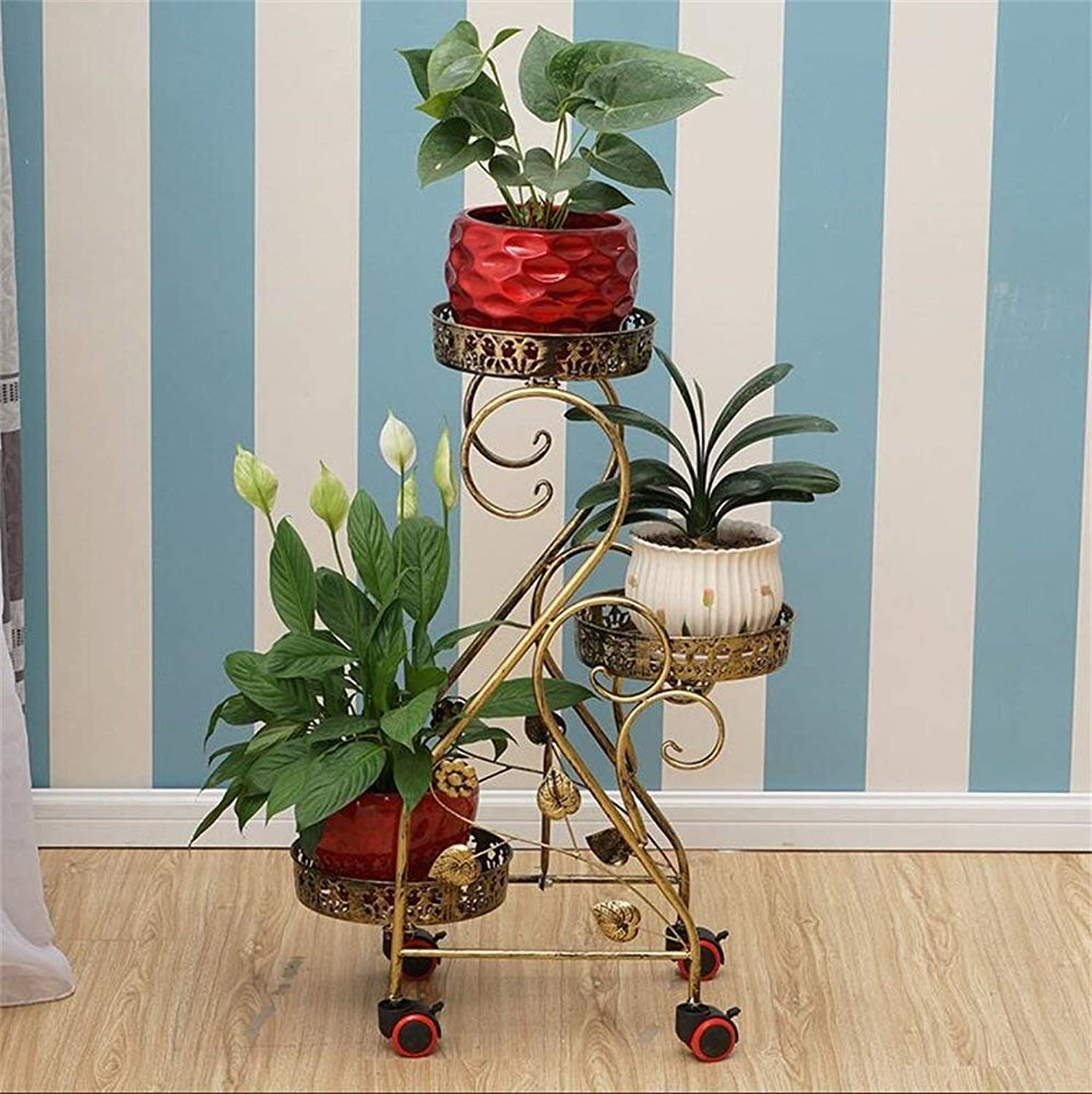 Shiyanghang Outdoor Indoor Display Plant Stand Flower Stand, 3 pots of Metal Flower Pot Display Stand, Removable Floor Stand (color   Bronze)