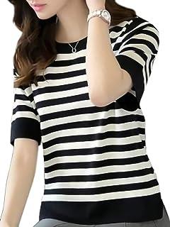 [モノア] Tシャツ カットソー レディース ファッション 細身 シルエット 半袖 ボーダー柄 シャツ トップス