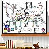 Impresiones En Lienzo, Mapa del Metro De Nueva York Y Londres, Arte De Pared Vintage, Pintura En Lienzo, Póster para Decoración del Hogar, Imagen Decorativa 50X70Cm No Cuadro,-Yf2292