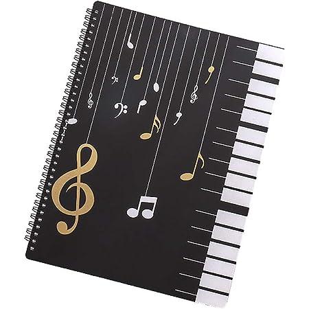 DEDC A4 Chemise de Partitions, 30 Pages Dossier de Rangement Imperméable pour Partitions de Musique, Stockage de Papier de Chanson pour Musiciens Concert (B)