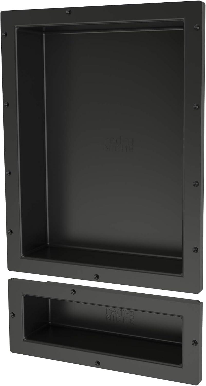 Tile Redi USA RND1620S-6 Shower Niche, 26  H x 16  W, Black