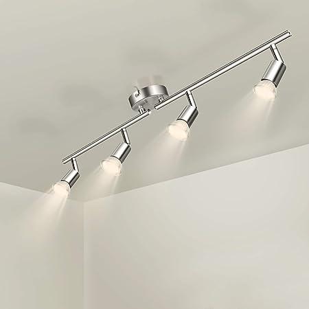 Wowatt Plafonnier LED à 4 Lumières En Nickel Mat Lampe Applique Spot de Plafond 5W 420Lm Equivalent 40W Lampe Incandescent Blanc Chaud Orientable Ideal Comme Une Lampe Salon Couloirs Chamber Cuisine