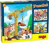 HABA 305883-Puzzles Baustellenfahrzeuge, Puzzle AB 3 Jahren Puzle, Color carbón (305883)