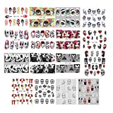 50 Sheets Skull Nail Stickers Halloween Gothic Skeleton Clown Nail Art Decals for Women