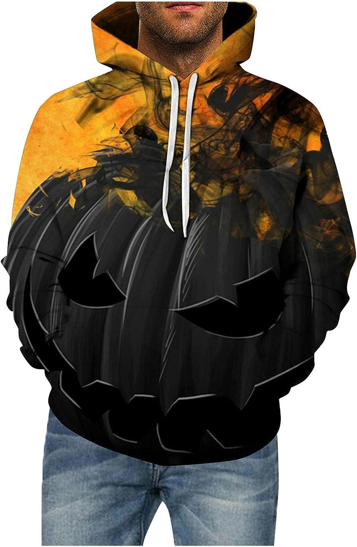 Aayomet Halloween Hoodies for Men Evil Patterns Long Sleeve Hoodies With Pocket Big and Tall Pullover Hoodies
