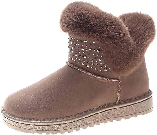 Zapatos de Invierno de Felpa de Las mujeres Ocasionales botas de Nieve Planas mujer Tubo Medio Antideslizante al Aire Libre Caminando Tobillo botín