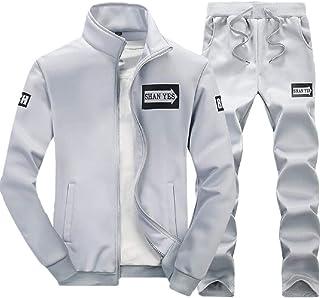 Mens Athletic Tracksuit Sets Full Zip Warm Jogging Sweatsuits Activewear Top