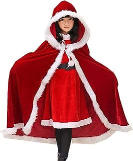 Mrs Clause Cape Red Christmas Cape Female Santa Costume Santa Cloak