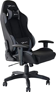 E-WIN Gaming Racing Chair - 330lb Adjustable Tilt Back Angle and Adjustable Arms Ergonomic High-Back Leather Racing Executive Computer Desk Office Chair Calling Series Black Grey