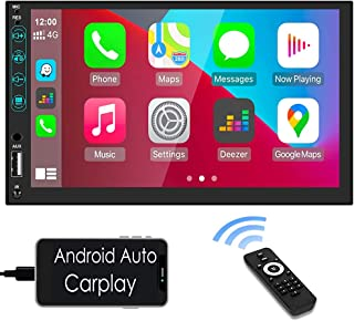$89 » Double Din Car Stereo Compatible with Apple Carplay & Android Auto Play Hikity 7 Inch Touch Screen Car Radio with Bluetoot...