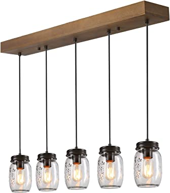 Kitchen Island Lighting,5-Lights Farmhouse Chandeliers for Dining Rooms,Mason Jar Lights Pendant Lighting for Kitchen Island