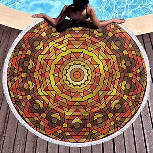 Círculo Toalla de Playa Celta Tapiz Redondo Colgante de Pared Motivo Celta Toallas victorianas Manta para Viajes Piscina Bate de natación Ronda59 Pulgadas