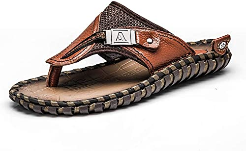 EGS-chaussures Couche supérieure en Cuir Tongs Cool Hommes Sandales Chaussures pour Hommes Chaussures de Plage d'été Chaussures de Cricket (Couleur   Marron, Taille   40)
