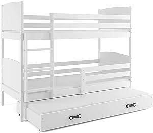 Interbeds Lits superposé CARINO 3 Places 190x90 avec sommiers, tiroir et Matelas Blanc ou Gris (Blanc)