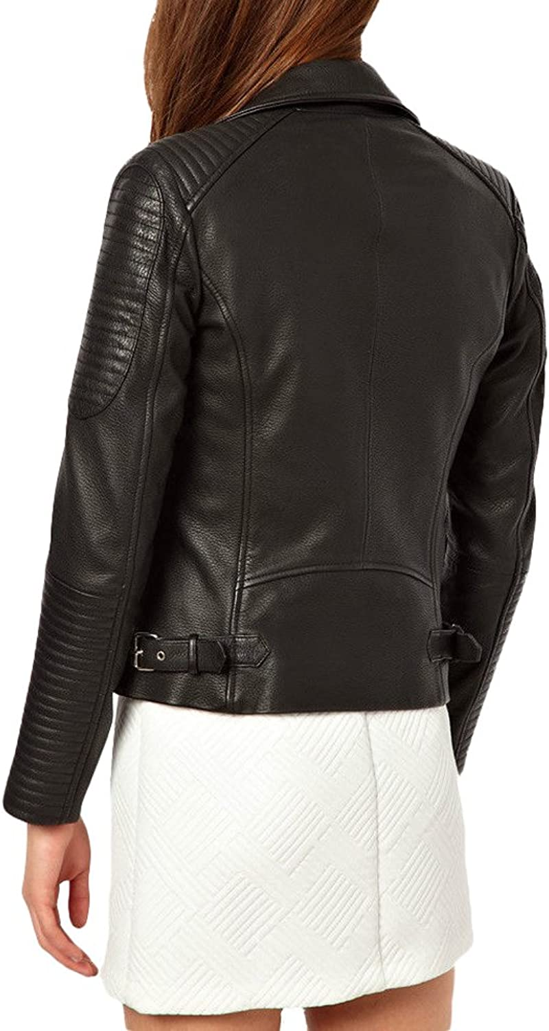 Exemplar Women's Genuine Lambskin Leather Moto Jacket Black LL871