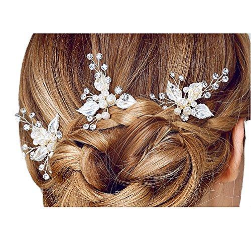 Miya 1 x Épingle à cheveux ultra glamour ornées de magnifiques fleurs avec perles et cristaux - Accessoires de coiffure de mariage.