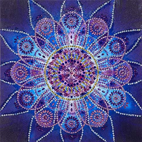 Diamond Painting DIY 5D Special Shape Rhinestones, ABEUTY Purple Mandala Flowers, Partial Drill Crystal Diamond Art Kits
