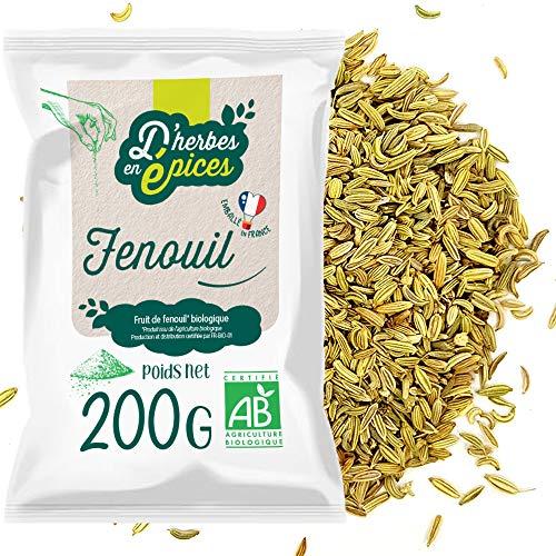 D'HERBES EN EPICES   Graines de fenouil bio 200g   Tisane et infusion bio en vrac   Certifié biologique