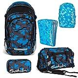 Satch MATCH by Ergobag Blue Triangle 5-tlg. Set Schulrucksack + Sporttasche + Schlamperbox inkl. Geodreieck + Heftebox Tripleflex Blau + Regenhaube Blau - Wächst mit bis 180cm Körpergröße!