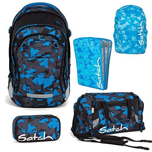 satch by ergobag 2er Set Zubeh/ör Tripleflex Heftebox /& Regencape Blue