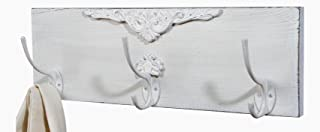 Shabby Chic White Distressed Wood 15 Inch Wall Triple Hooks