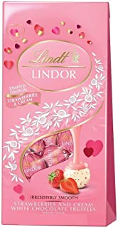Lindt Lindor Valentine's Day Strawberries and Cream White Chocolate Truffles Limited Edition 6oz Bag