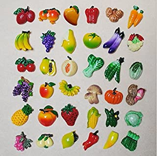 URTop 36 Pcs Resin Fridge Magnets Mini Lovely Fruits Vegetables Decorative Board Magnetic Stickers Fridge Decors Mix Style