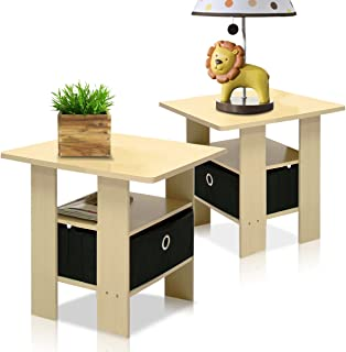 Furinno End Table Bedroom Night Stand, Petite, Steam...