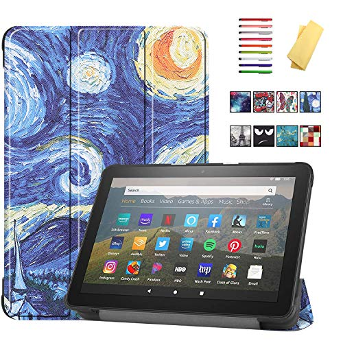 UUcovers for 8' All-New Kindle Fire HD 8 Tablet 2020 (10th Gen) and Fire HD 8 Plus Case (10th Generation, 2020 Release) Folio Stand PU Leather Trifold Cover with Auto Sleep/Wake,Starry Night Van Gogh