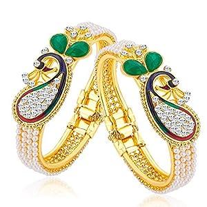 Sukkhi Glittery Pearl Gold Plated Wedding Jewellery Peacock Meenakari Austrian Diamond Kada Combo For Women (CB71499ADAP450)