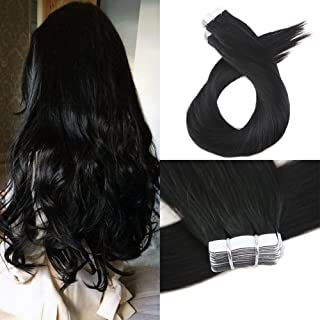 Moresoo 16 Inch Tape Hair Extensions Human Hair 40 Pieces 100 Grams Per Pack #1 Jet Black Real Brazilian Human Hair Skin Weft Invisible Hair Extensions Glue on Hair for Women PU Tape Hair Extensions