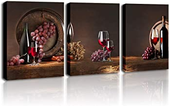 DVQ ART Red Wine Glass Wall Art Modern 3 Pieces Stretched and Framed Giclee Oak Barrel with Grape Fruit Prints Artwork Contemporary Vintage Pictures Paintings on Canvas for Kitchen Home Decorations