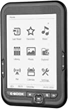 Portable E-paper with E-ink 6 inch Display E-reader E-book Reader Paperwhite with Electronic ink screen Available in 29 languages with A pair of headphone and Leather Case (Black 4GB) (Black 4G)