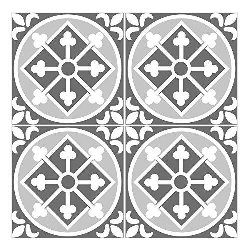 """Wandkings Fliesenaufkleber 4er Set - Wähle ein Muster & Größe -""""Jenny"""" - 14,5 x 14,5 cm"""