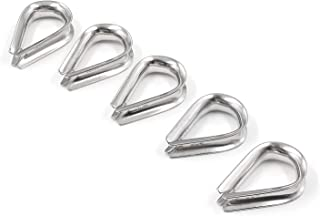 Lind Kitchen 5pcs M10 Steel Wire Rope Thimble Ferrules 304 Stainless Steel Rigging Hardware Protection Triangle Ring Fasteners Suspension Clamp Winch Wire Loop