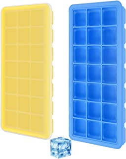 Ice Cube Trays, 2 Pack Ice Cube Molds Silicone Ice Trays with Spill-Resistant Removable Lid Easy-Release and Flexible- BPA Free, Durable and Dishwasher Safe (Yellow & Blue)