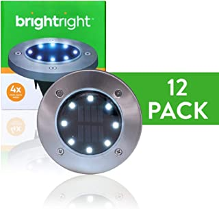 BRIGHTRIGHT - Outdoor Solar Disk Lights (12-Pack) 8 White LED, Waterproof Landscape Lighting for Yard, Garden, Patio, Lawn...