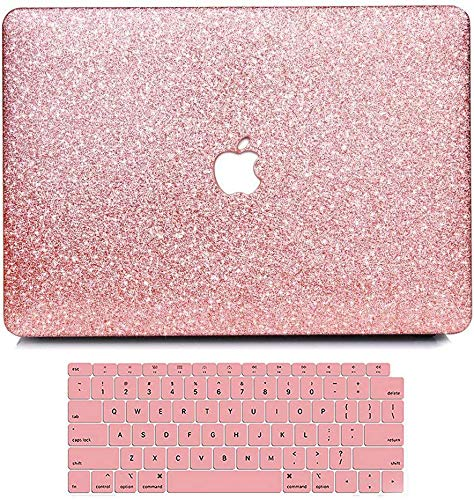 MacBook Air 13 Inch Case 2020 2019 2018 Release A2179 A1932, Anban Glitter Bling Smooth Protective Laptop Shell Slim Snap On Case with Keyboard Cover for Mac Air 13 inch with Touch ID & Retina Display