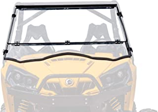 SuperATV Heavy Duty Scratch Resistant Flip/Tilt Down/Folding Windshield for Can-Am Commander 800/1000 / Max (2011+) - Hard Coated for Extreme Durability - Installs In 5 Minutes!