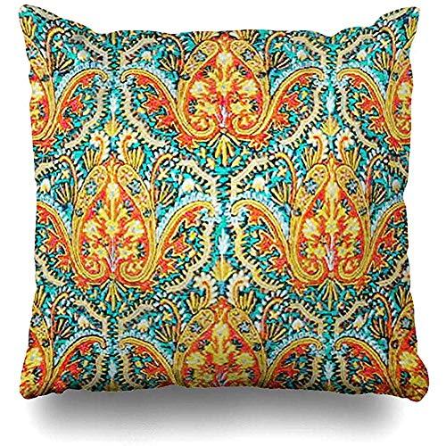 GodYo Kussenslopen 1 pak Teal Marokko Marokkaanse paisley in aquablauw en oranje traditionele kussensloopsofa schattig