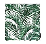 Moslion Palm Leaf Shower Curtain Set Watercolor Painting Coconut Palm Tree Banana Leaves Shower Curtains Home Decorative Waterproof Polyester Fabric with Hooks 72x72 Inch Green White