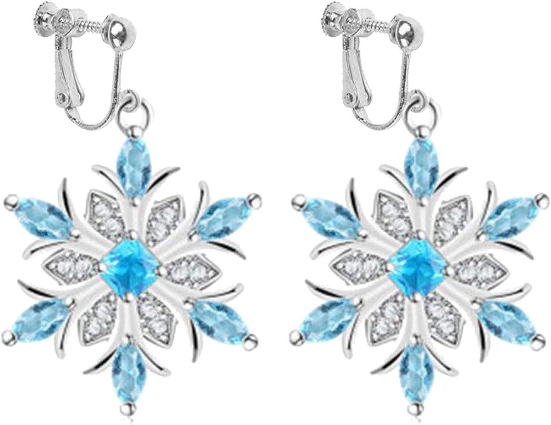 Fashion Blue Snowflake Clip on Earrings Filigree Teardrop Leaf Dangle Hoops Drop Non Pierced Ears for Girls Women Christmas Party Winter Gifts