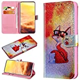 Robinsoni Case Compatible with Galaxy S10e Phone Case Wallet Leather Light Reflecting Mirror Case Kickstand Notebook Cover Flip Stand Book Style Case Silicone Case Colorful Animal Case Fox # 2