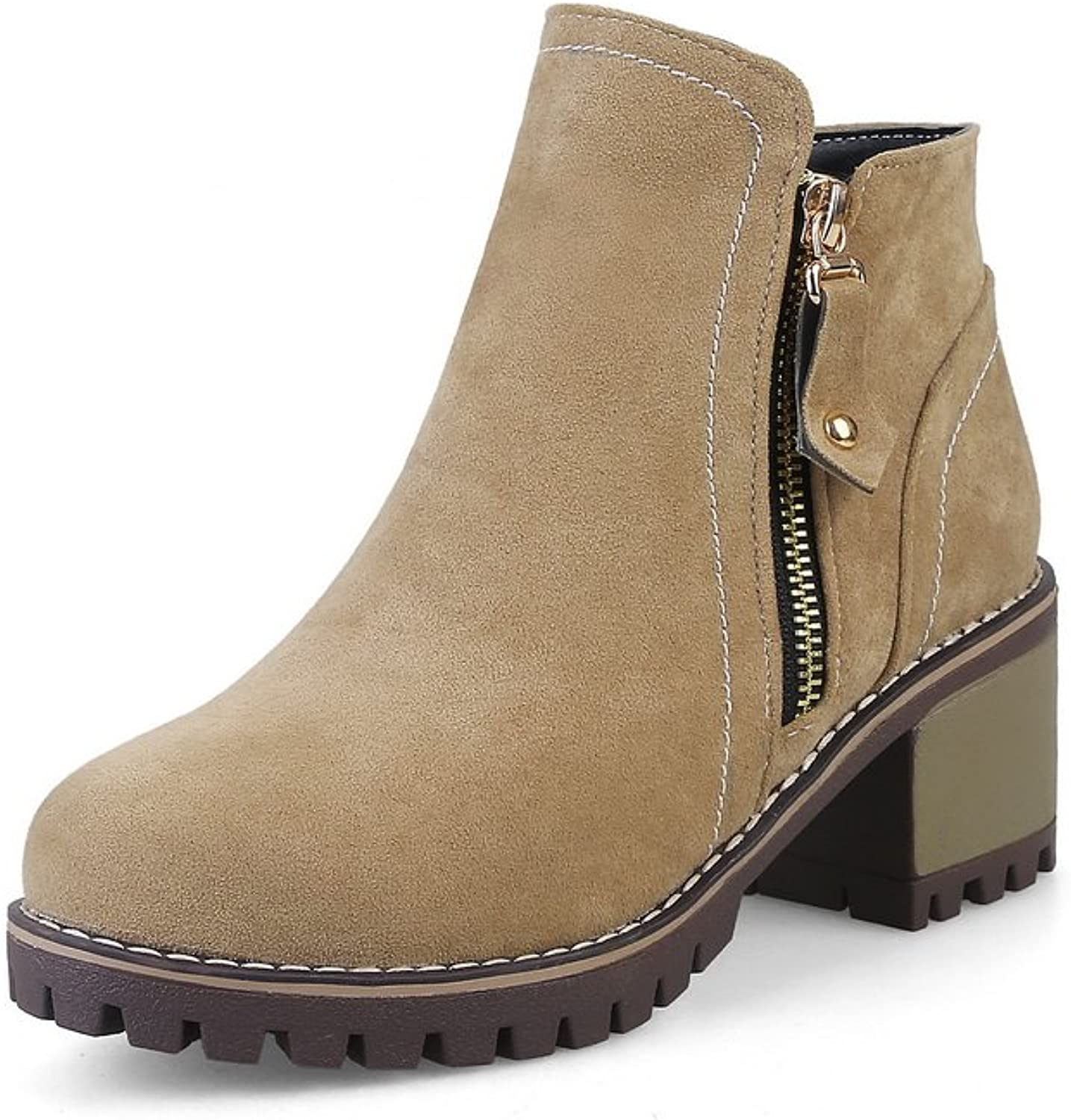 1TO9 Womens Boots Closed-Toe Zip Heeled Warm Lining Rubber Not_Water_Resistant Hard Ground Nubuck Slip-Resistant Fashion Urethane Boots MNS02556