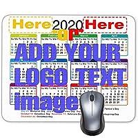 """2020カレンダーHDフォントマウスパッド、ノンスリップパーソナライズされた長方形の黒背景、サイズ:"""" 9.5 X 7.6インチ""""(カスタムロゴホワイト)"""